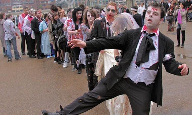 Zombified Londoners take to the streets for Resident Evil
