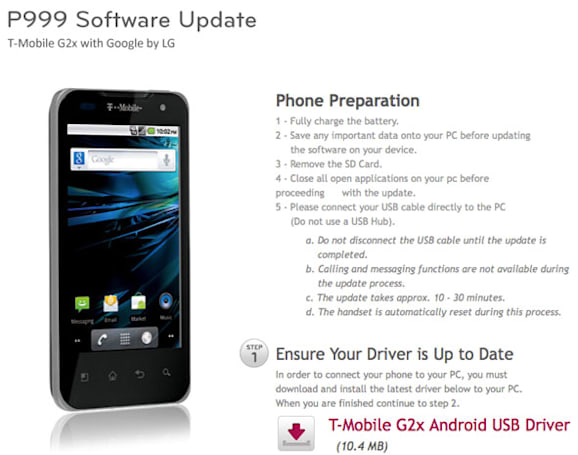 T-Mobile G2x gets its Gingerbread on (again), hopes it sticks