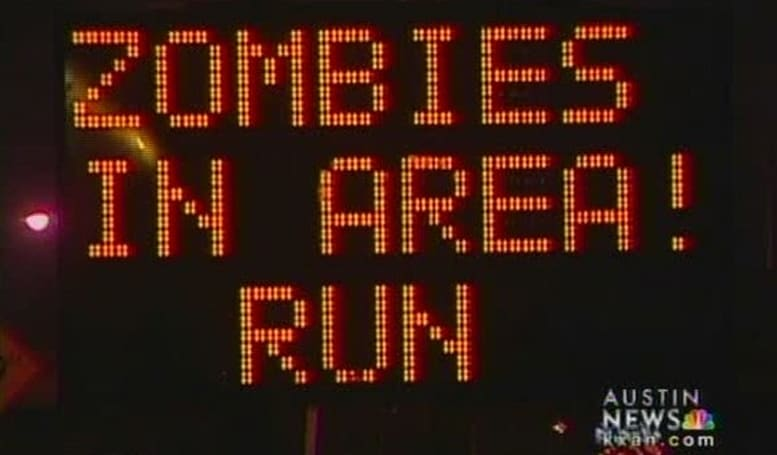 Austin construction signs warn of zombie attack