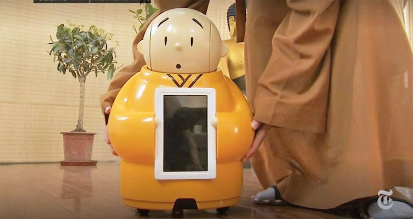 Cute robotic monk knows the meaning of life