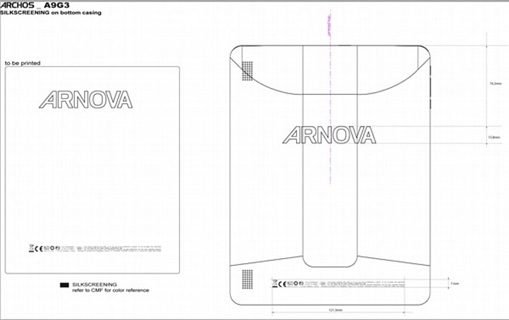Archos Arnova A9G3 tablet bares its backside for the FCC