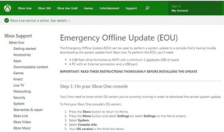 Microsoft pulls offline USB updating instructions for Xbox One [Update: Microsoft responds]