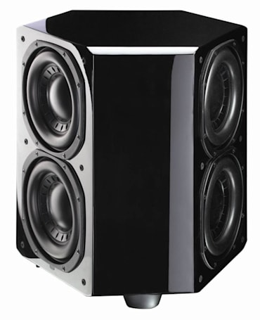 Paradigm SUB 1 and SUB 2 subwoofers -- six drivers on three sides for buzz-free bass