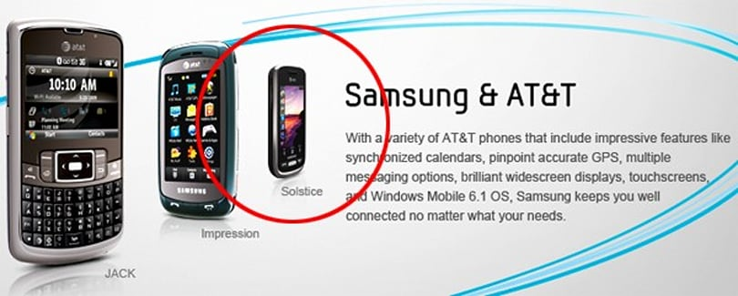 Samsung Solstice for AT&T spotted on official site, coming in at $99.99 next week?