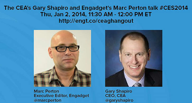 We'll be talking CES 2014 with Gary Shapiro tomorrow, catch our Google Hangout here!