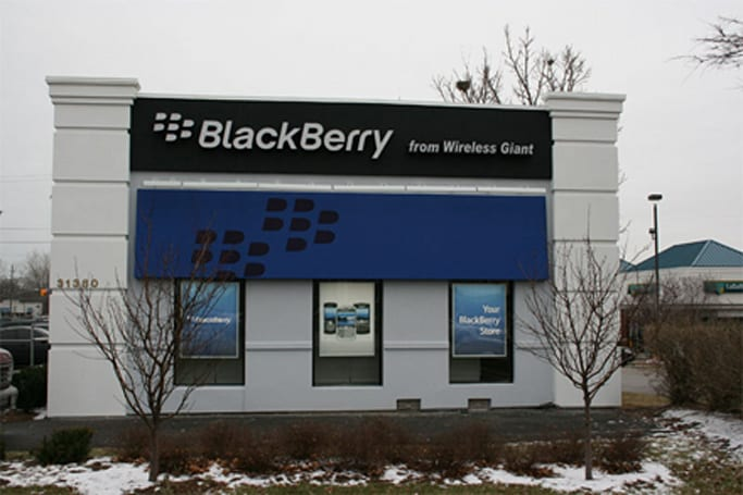 """First """"authorized"""" BlackBerry store opens, looks a little sad"""