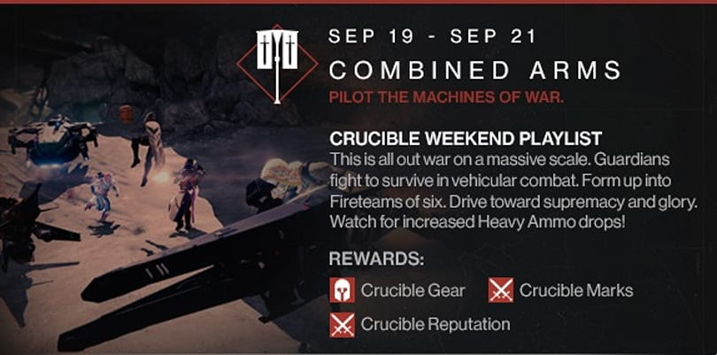 Destiny combines arms in the Crucible this weekend