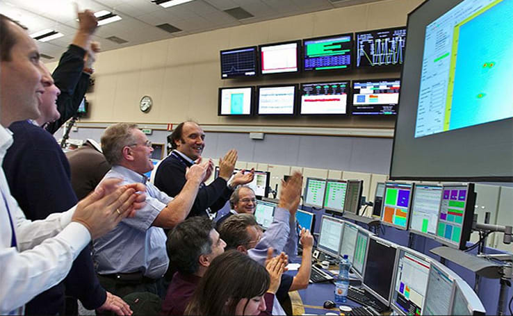 Large Hadron Collider reboots, makes first protonic bang!