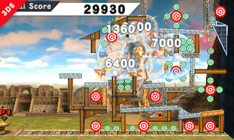 Target Blast minigame racks up points in Smash Bros. 3DS