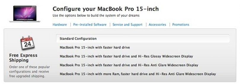 "Online Apple Store adds one-click ""popular configurations"" option"