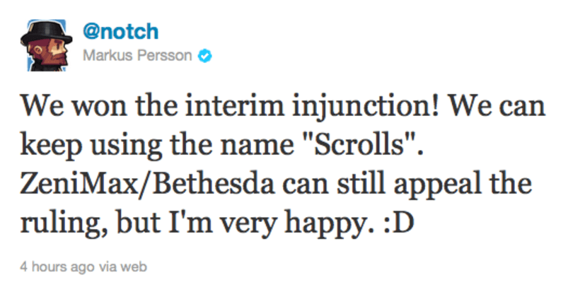 Mojang wins interim injunction battle, can keep using 'Scrolls' name for now