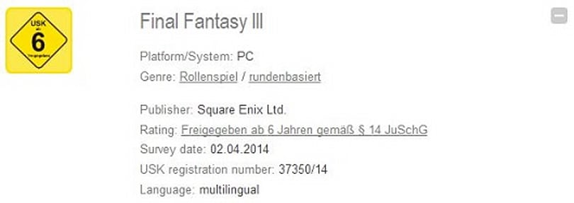 Final Fantasy 3 rated for PC in Germany