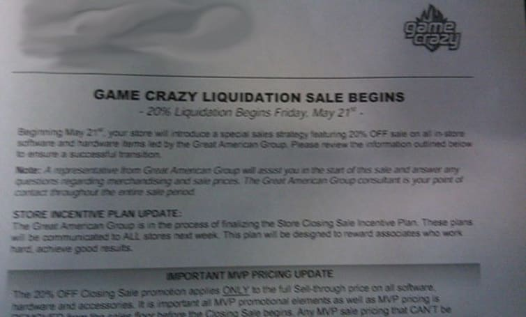 GameCrazy store liquidation starts today, everything 20% off