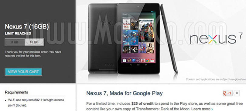 Google to hand over $25 Play credit with each Nexus 7 tablet purchase
