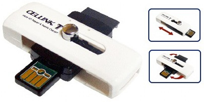 Cellink T/M: a swiveling USB stick, card reader, and mobile charger thingamajig