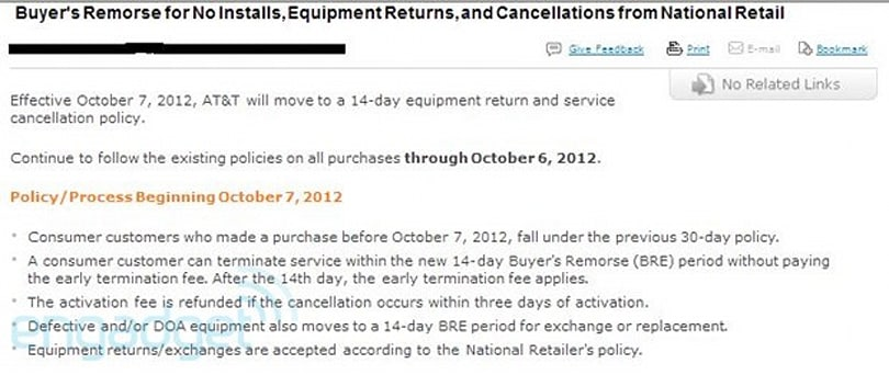 AT&T cutting returns and service cancelation period from 30 to 14 days, starting tomorrow? (update: confirmed)