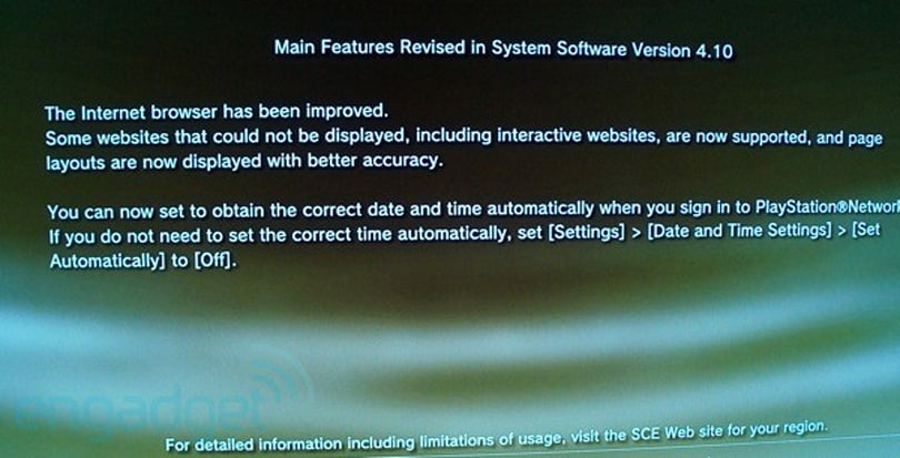 PS3 v4.10 update is live with an improved browser, Sony Entertainment Network nameplate