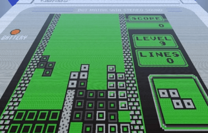 Massive Minecraft Game Boy plays Tetris (almost)