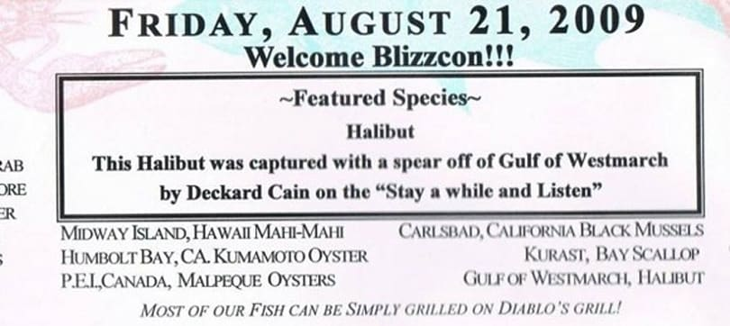 McCormick and Schmick's special BlizzCon menu