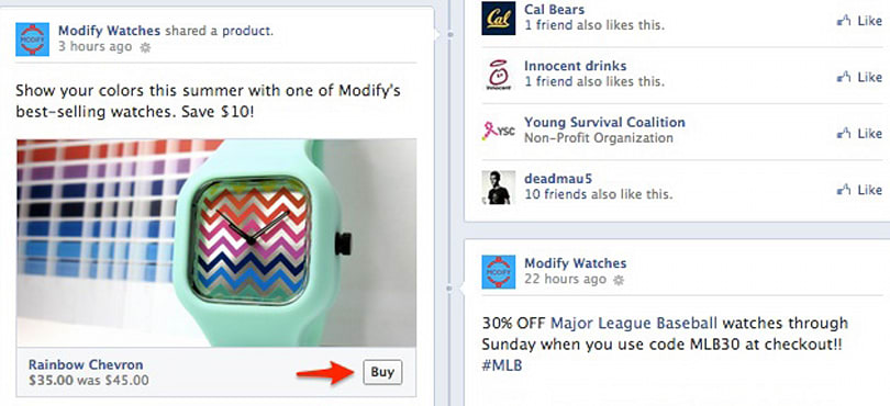 Facebook's Buy button lets you purchase products directly from Page posts and ads