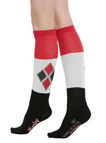 SUICIDE SQUAD HARLEY QUINN COLOR BLOCK KNEE SOCKS