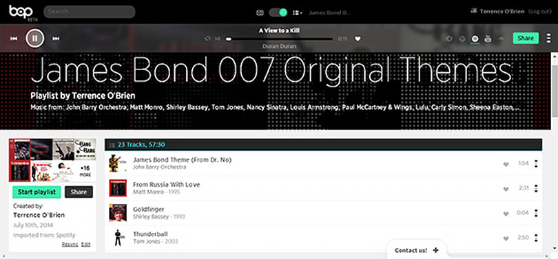 Bop.fm playlists don't care which music service you use
