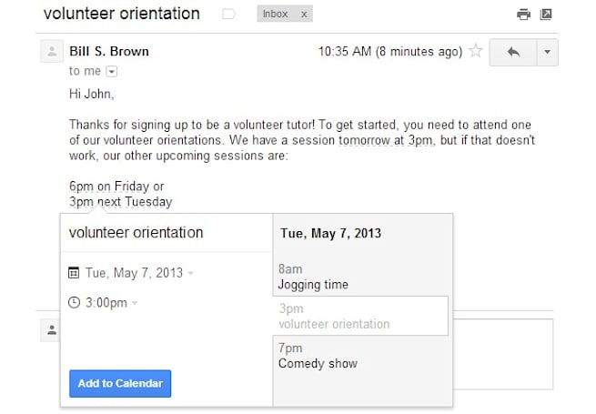 Gmail lets us directly add time references as Google Calendar events, finally