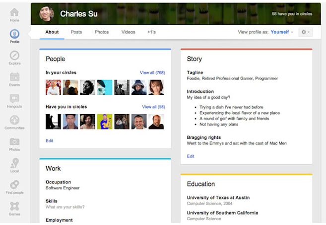Google+ updates profile pages with larger photos, 'card' layout and Local review tab