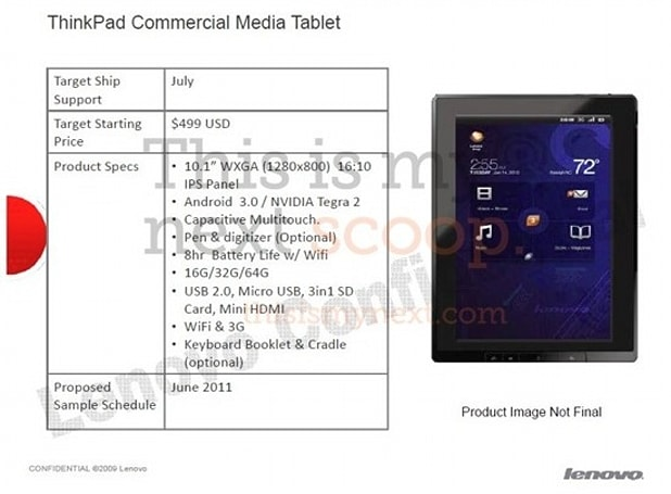 Lenovo ThinkPad Tablet leaks out with Honeycomb, IPS screen, optional stylus and keyboard folio?