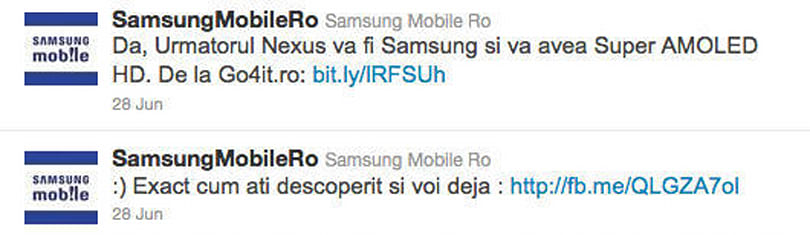Samsung Romania's Twitter account either leaked the next Nexus or just reposted some blog rumors