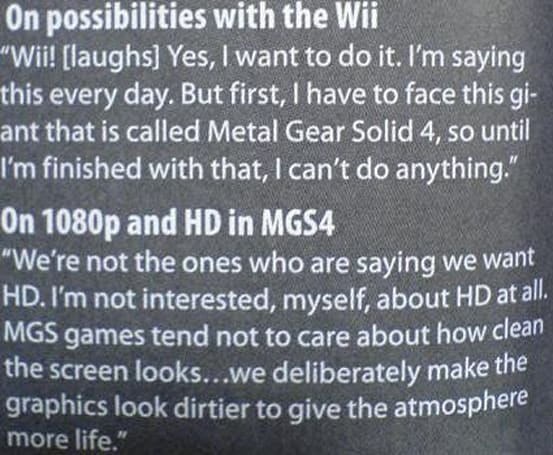 Kojima doesn't care about HD, likes Wii