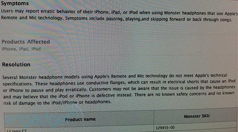 Apple tracking an issue with defective Monster headphones?
