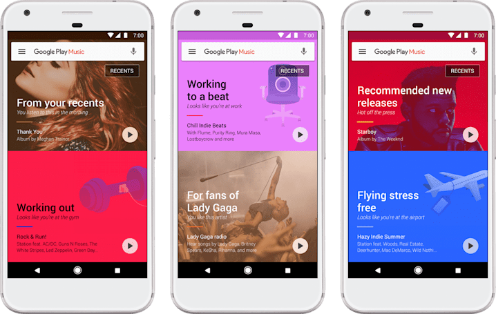 Google Play Music gets prettier and more intelligent