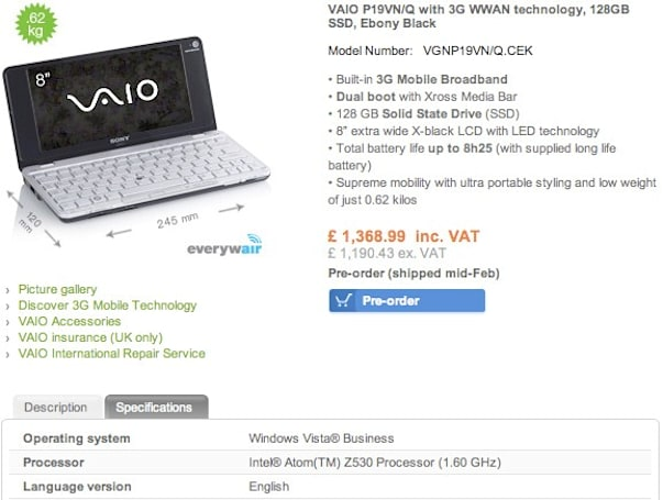 Hey Sony, where's the 1.6GHz VAIO P for America?
