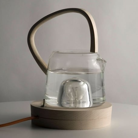 Tea kettle concept almost boils your water with an incandescent light bulb