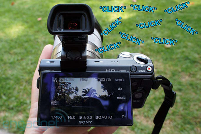 Sony Alpha NEX-5N makes clicking sound when moved, renders captured audio useless (video)