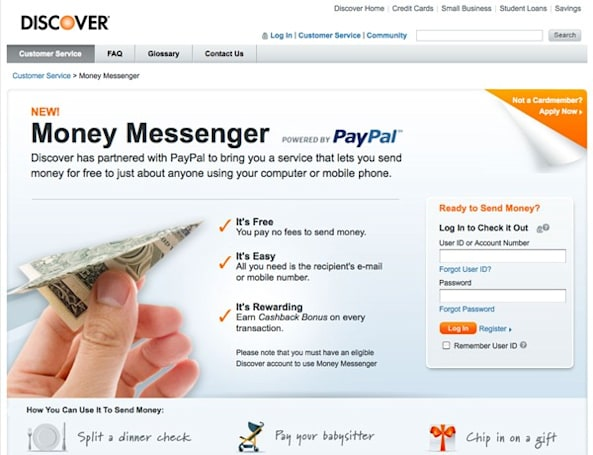 Discover cardholders can send money to anyone with a cell phone, email address