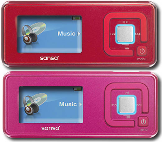 SanDisk's Sansa C250 goes red and pink