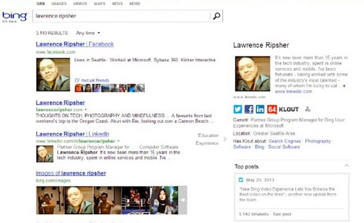 Microsoft to start showing people's social and career info in Bing results