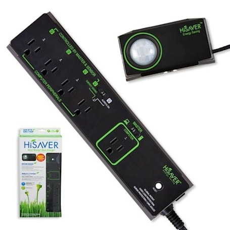 Motion sensor-equipped HiSAVER power strip cuts power when you leave the room
