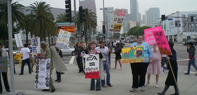 Christian bloggers protesting fake EA protest