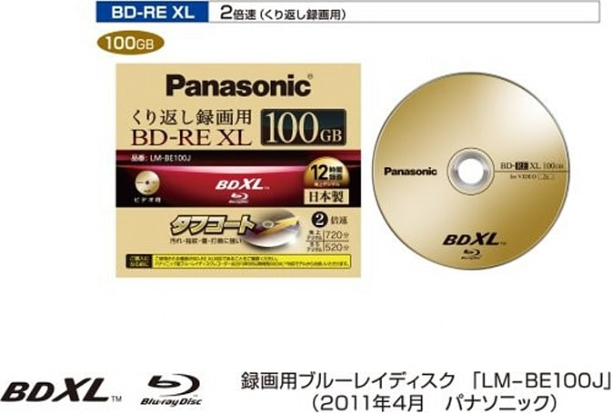 Panasonic's first rewriteable 100GB BD-RE XL discs launch later this month