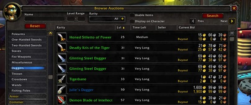 The players and the auction house