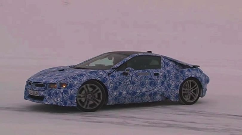 BMW i8 production prototype goes dancing in a winter wonderland (video)