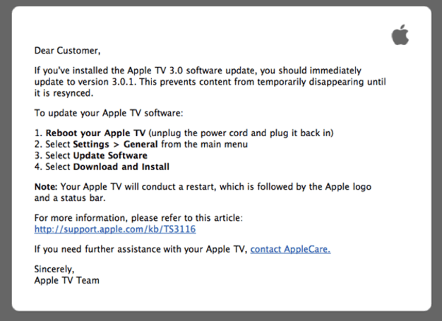 Apple TV 3.0.1 update prevents data from 'temporarily disappearing'