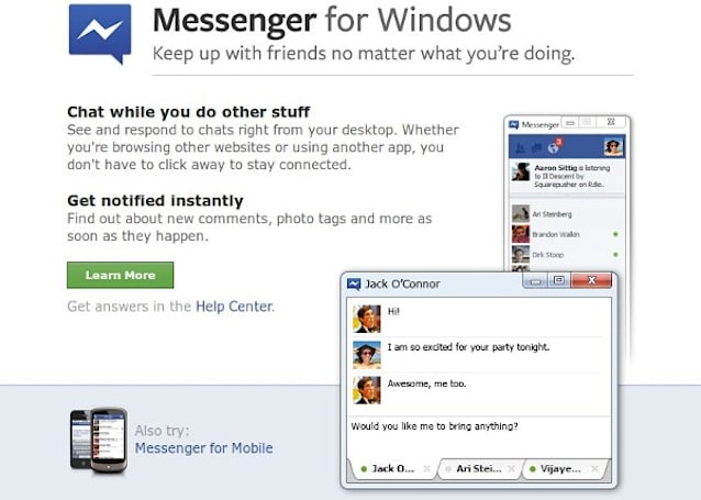 Facebook Messenger for Windows app now officially official