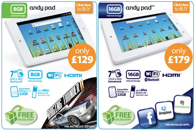 Andy Pad, Andy Pad Pro now available within Europe, for not a lot of money