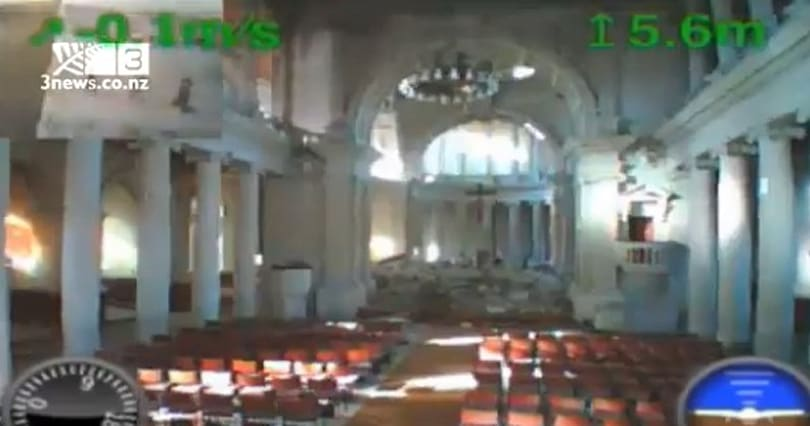 Parrot AR.Drone floats into damaged New Zealand cathedral, returns with haunting video