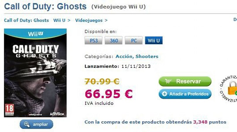 Report: Spanish retailer lists Call of Duty: Ghosts for Wii U and PC