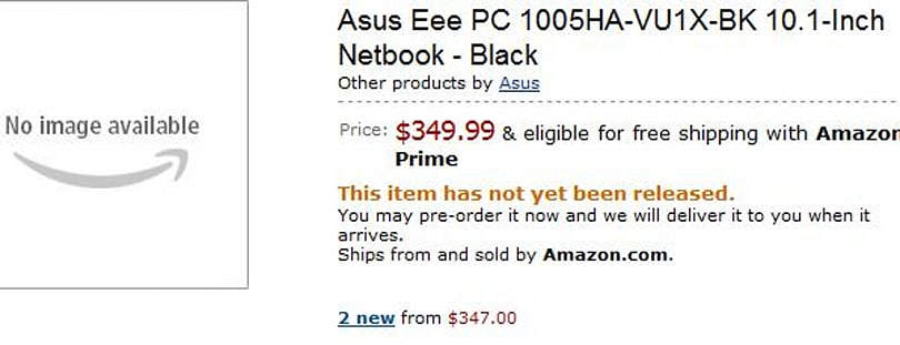 ASUS Eee PC 1005HA up for pre-order on Amazon